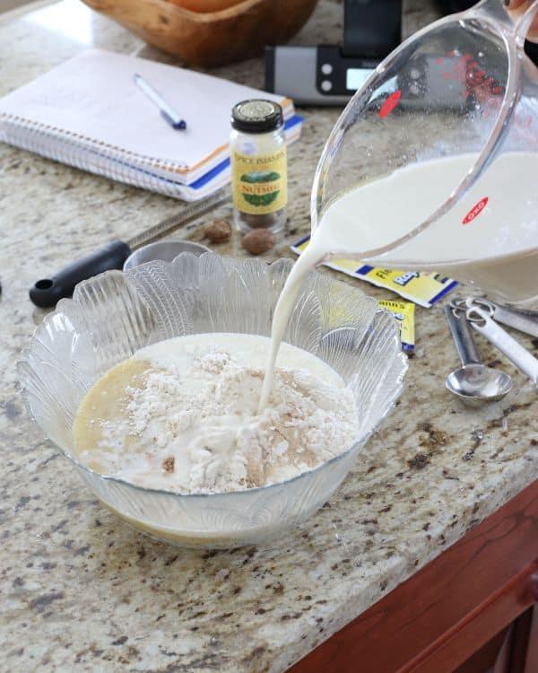 Banana nutmeg pancakes prep