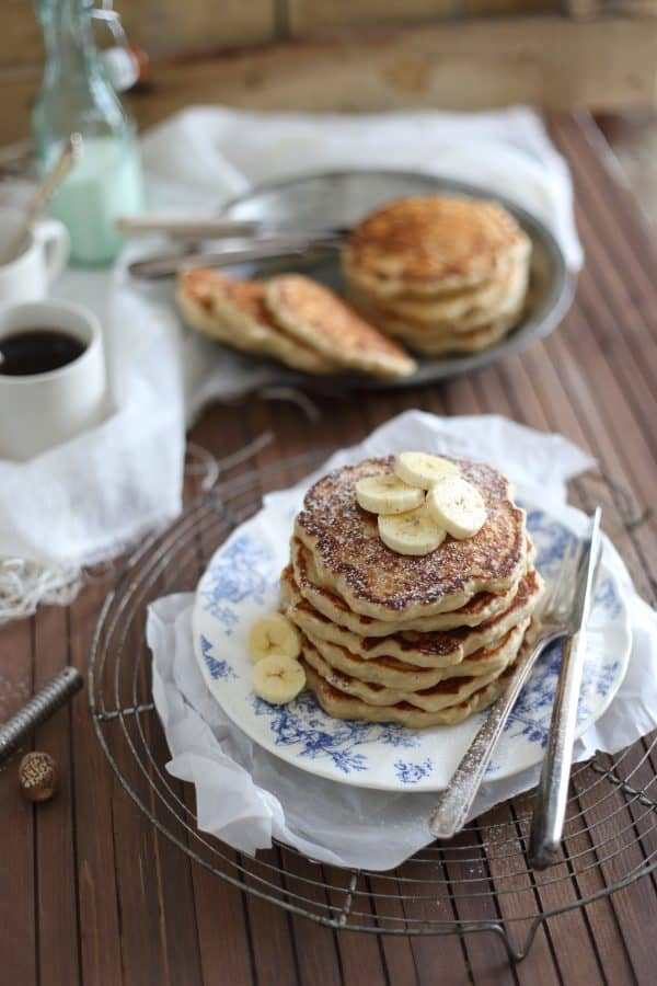 These banana nutmeg pancakes are made from scratch with yeast. Just 10 minutes of rising time makes these the fluffiest pancakes you'll ever eat.