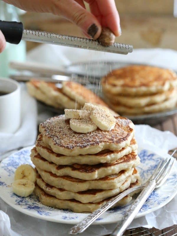 Banana nutmeg pancakes made with yeast