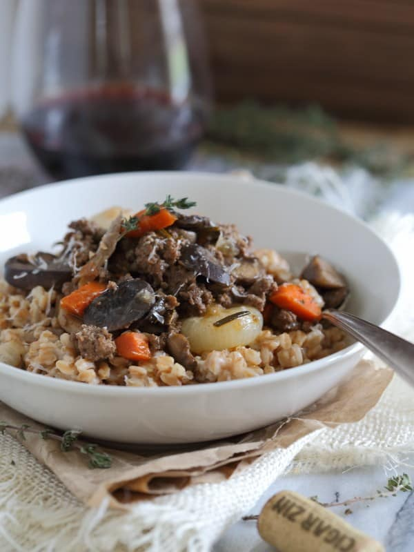 Beef and mushroom bolognese over farro