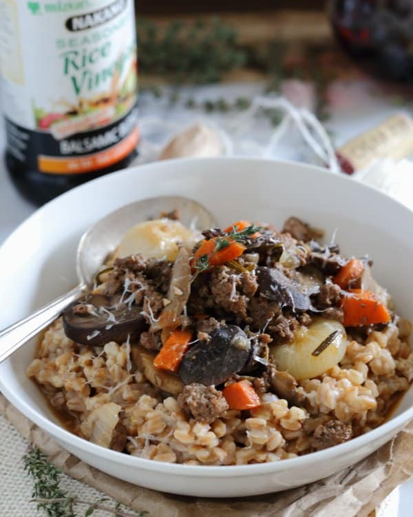 Farro beef and mushroom bolognese
