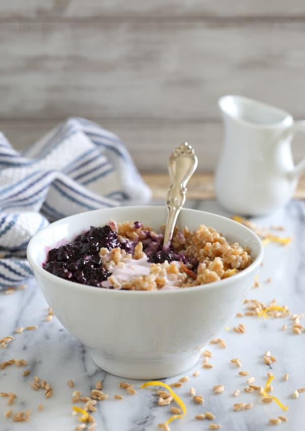 Blueberry farro yogurt bowl
