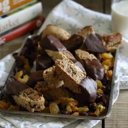 Dark Chocolate Rosemary Raisin Biscotti - Running to the Kitchen