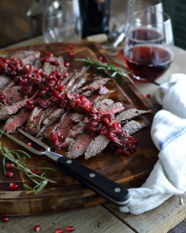 Balsamic pomegranate flank steak