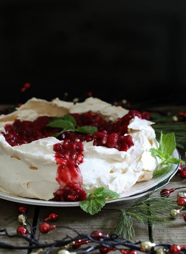 This pomegranate pavlova is a simple meringue dessert perfect for ringing in the New Year. Looks super fancy but couldn't be easier to make!