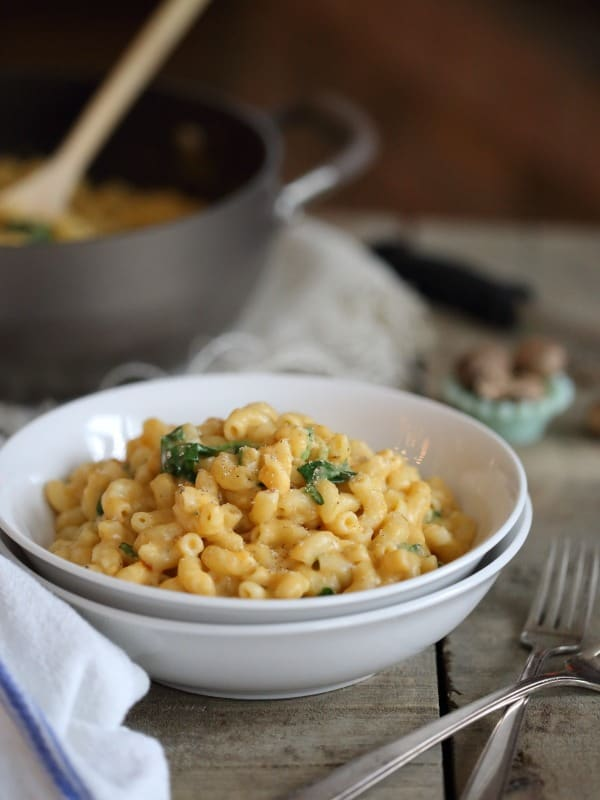 Creamy sweet potato mac and cheese with spinach is a comforting classic made a touch healthier!