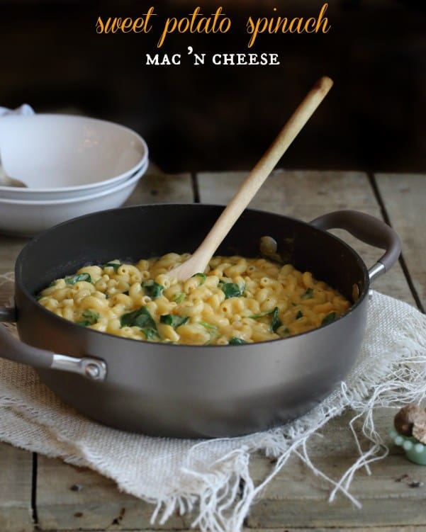 This super creamy sweet potato mac and cheese uses pureed sweet potato, almond milk and two different kinds of cheese. It's indulgent while being a little healthier for you and sneaking in some spinach!