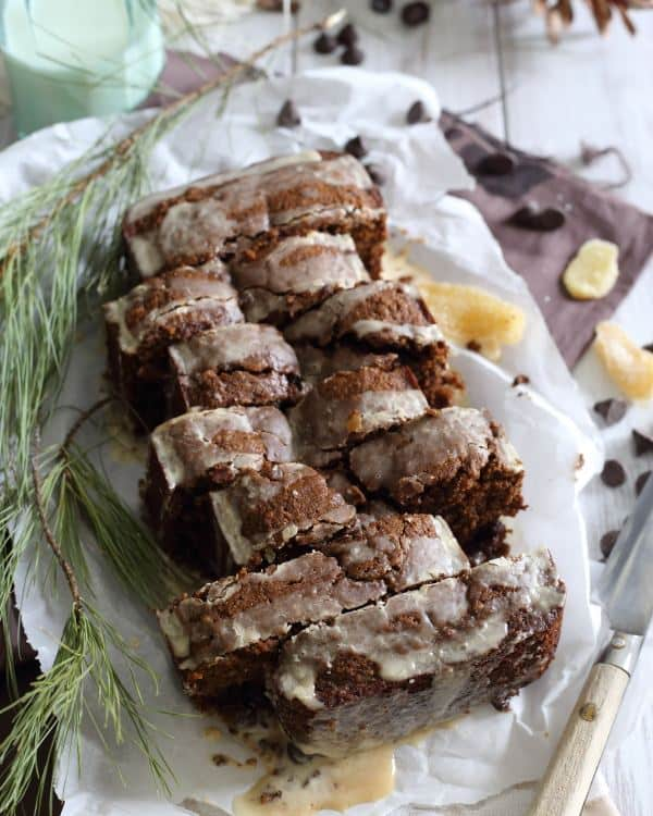 Tea glazed chocolate gingerbread loaf