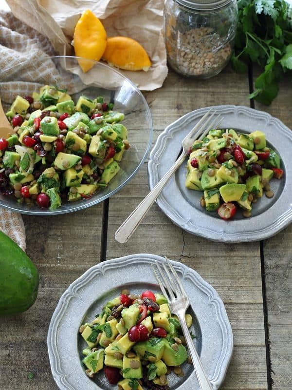 Cranberry Avocado Lentil Salad