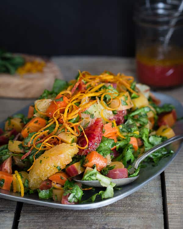 This chopped carrot citrus salad has roasted rainbow carrots, blood oranges and Meyer lemons tossed in a citrus mustard vinaigrette to showcase the best of winter produce.