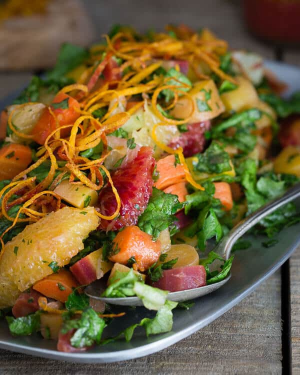 This chopped carrot citrus salad has roasted rainbow carrots, blood oranges and Meyer lemons tossed in a citrus mustard vinaigrette.