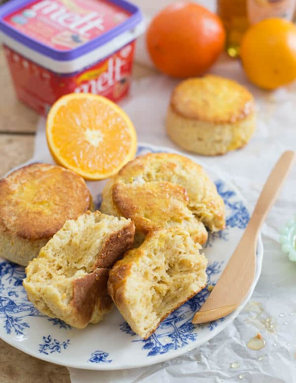 These citrus honey biscuits are filled with the sweet flavor of honey and the bright freshness of orange and meyer lemons.