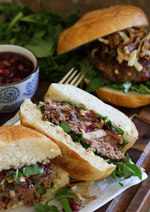 Pomegranate feta bison burgers with caramelized onions