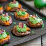 Smashed sweet potato guacamole bites 450x450