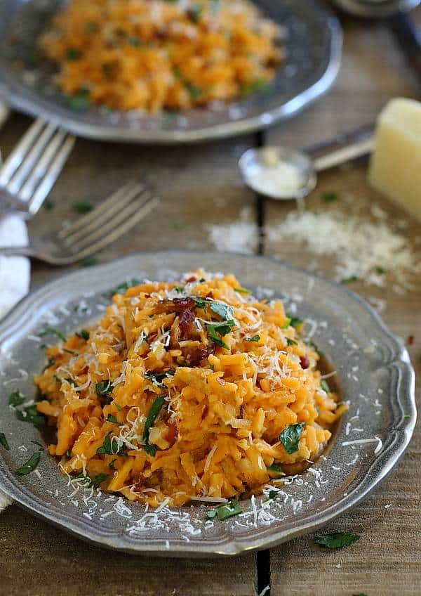 This sweet potato carbonara is made spicy with some red pepper and sriracha.