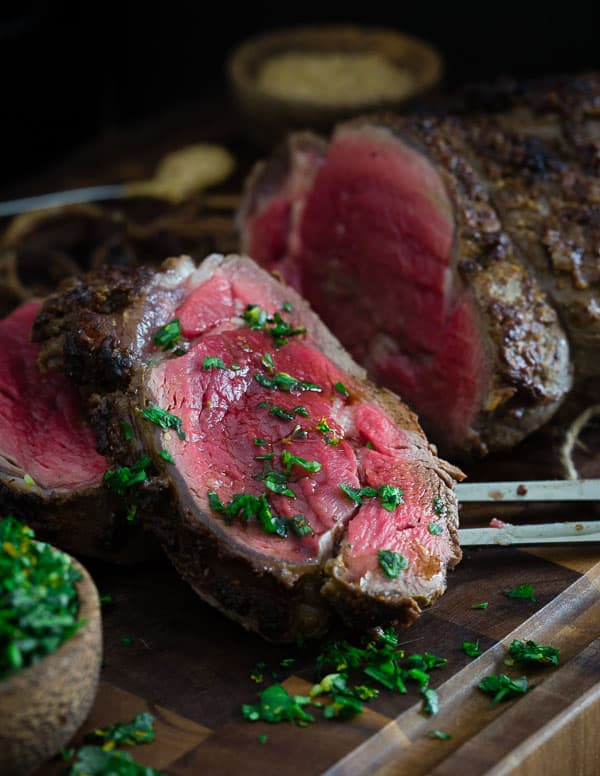 Looking for the perfect Valentine's Day dinner? This balsamic dijon beef tenderloin roast is both simple and impressive. Served with a Meyer lemon gremolata, it's the perfect holiday dish.