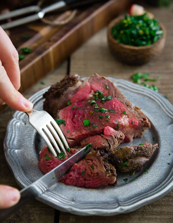 Balsamic dijon crusted beef tenderloin roast with lemon gremolata