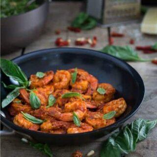 Pesto Couscous with Spicy Shrimp Romesco