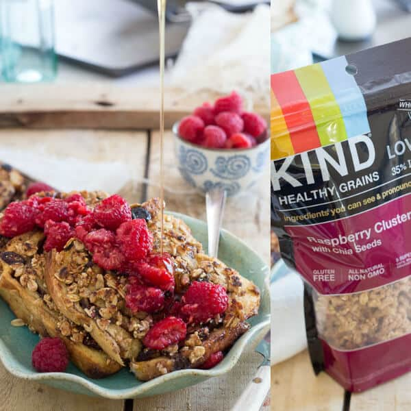 This granola French toast is made with KIND raspberry clusters with chia seeds and topped with a simple raspberry mash.