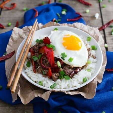 Spicy Beef and Red Pepper Rice Bowl