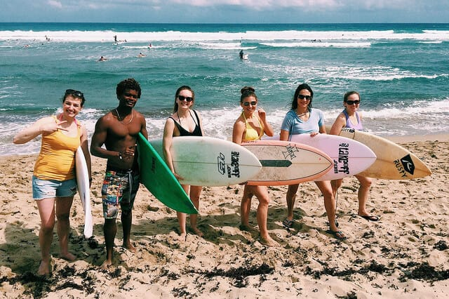 Surfing group shot
