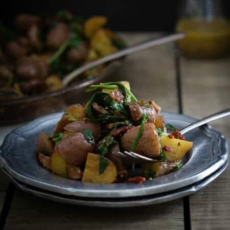 Warm Bacon and Greens Potato Salad
