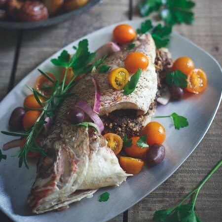 Greek Stuffed Whole Red Snapper