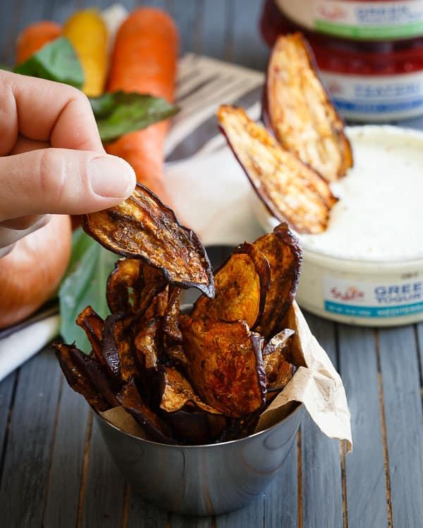 Mediterranean spiced eggplant chips