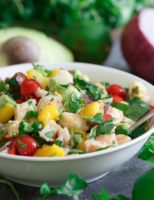 Shrimp mango avocado lime salad