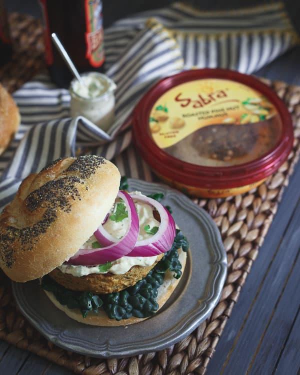 Roasted Eggplant Hummus Burgers