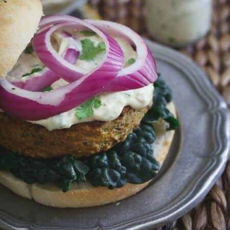 Curry Roasted Eggplant Hummus Burgers