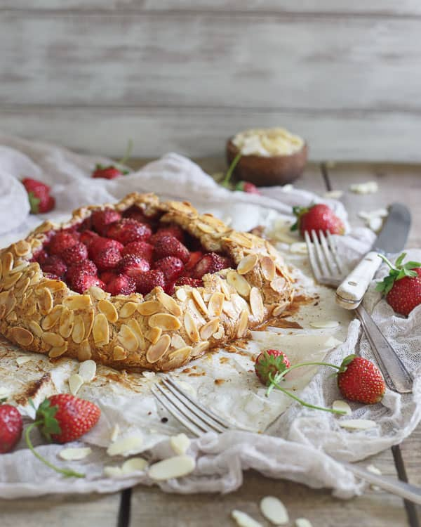 Simple and rustic, galettes are the perfect dessert when you're craving pie but don't want to put all the effort in. This paleo strawberry almond galette will satisfy any sweet tooth in a healthy way!