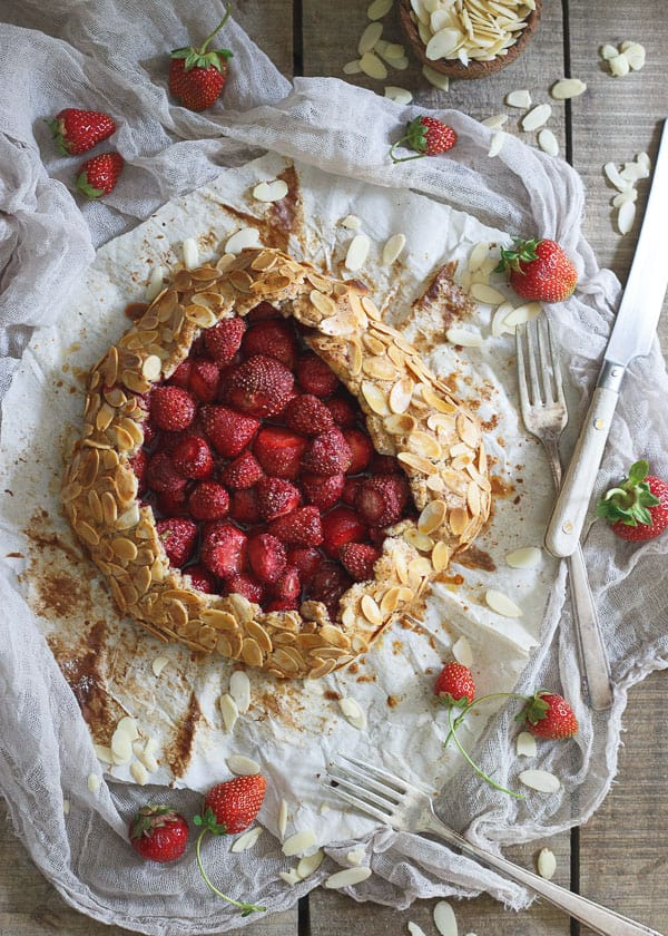 Strawberry Almond Galette is a gorgeous and delicious seasonal dessert and perfect for Valentine's Day!