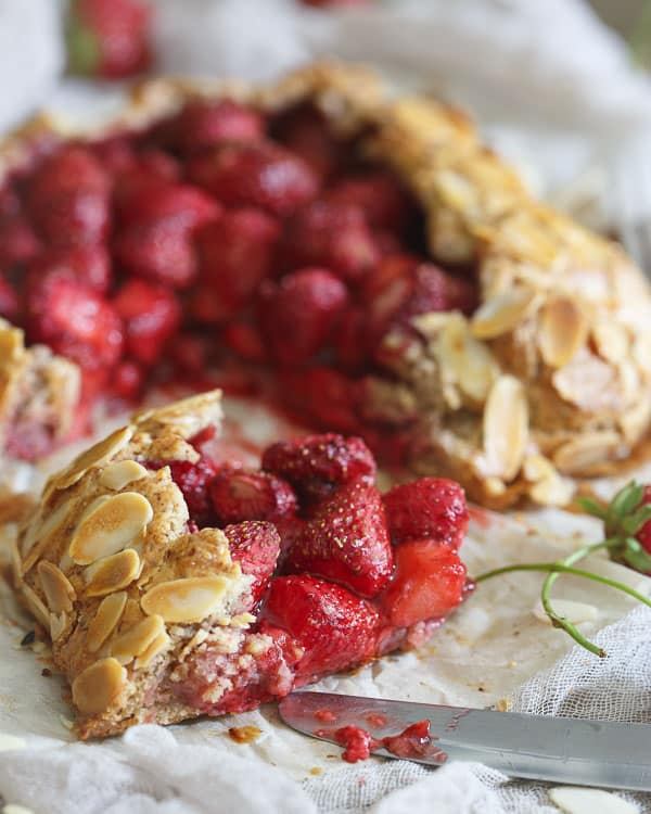 Ripe strawberries and almonds combine in this rustic strawberry almond galette for a lovely fruit dessert.