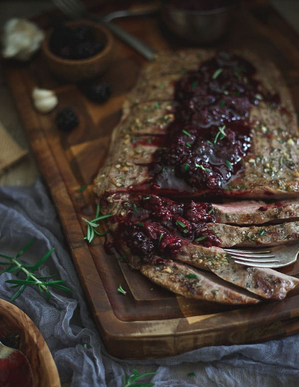 Rosemary Garlic Flank Steak with Blackberry Sauce