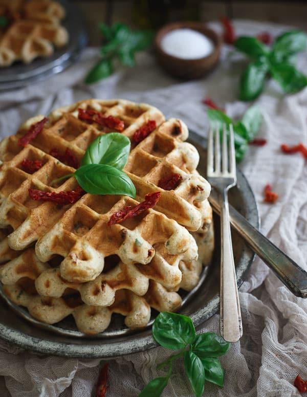 Sausage Tomato Basil Hummus Waffles