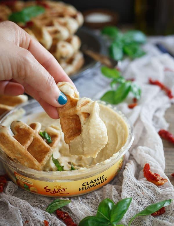 Sausage Hummus Waffles