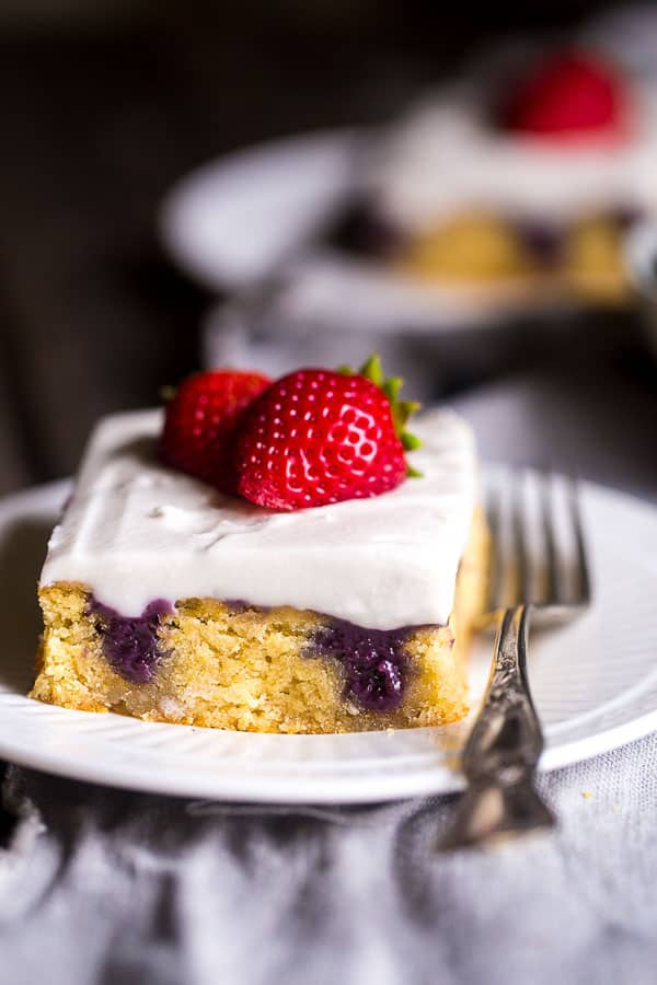 Red, White and Blueberry Paleo Poke Cake