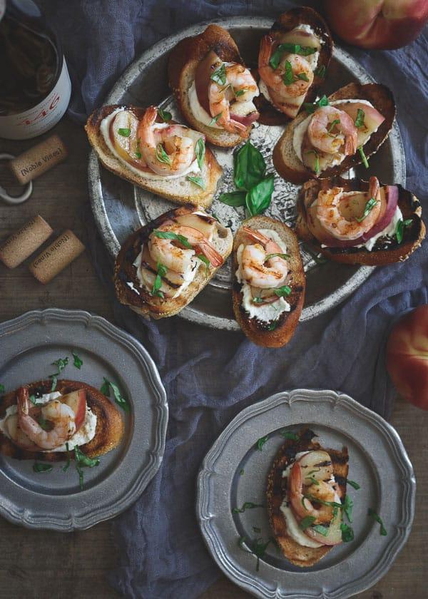 Burrata Crostini with Grilled Shrimp and Peaches