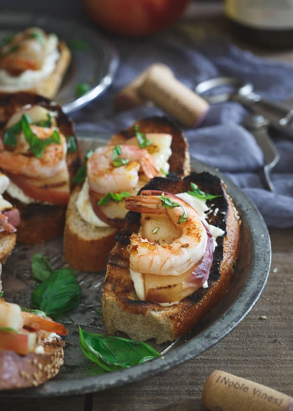 Whipped Lemon Burrata Crostini with Grilled Shrimp and Peaches