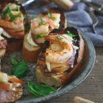 Whipped Lemon Burrata Crostini with Grilled Shrimp and Peaches 450x450