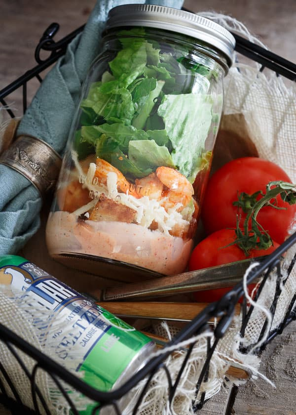 Mason Jar Spicy Shrimp Caesar Salad