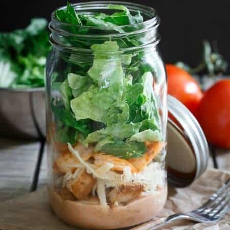 Mason Jar Sriracha Shrimp Caesar Salad