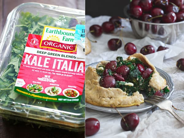 Kale Cherry and Feta Galette