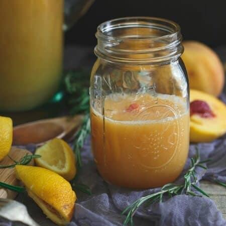 Roasted Peach Rosemary Lemonade