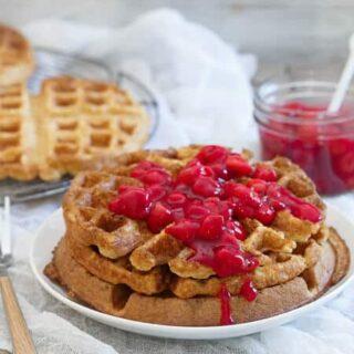 Cherry Oat Waffles