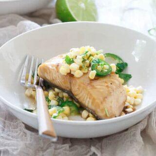 Honey Lime Sablefish with Jalapeno Corn Salsa