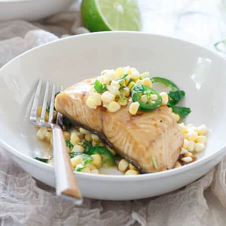 Honey Lime Sablefish with Jalapeno Corn Salsa