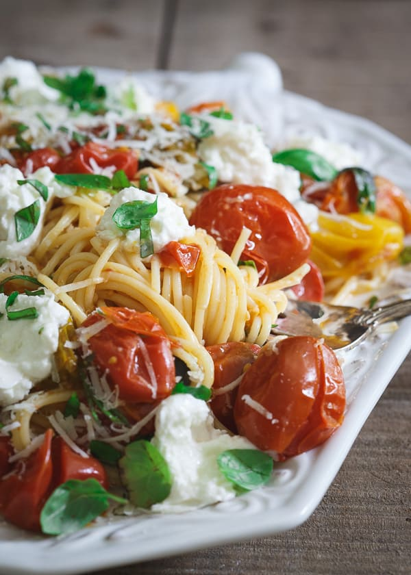 Pasta Checca with Heirloom Tomatoes and Burrata