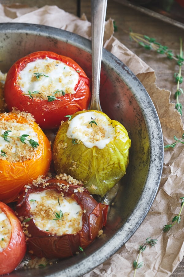 Roasted Goat Cheese Stuffed Heirloom Tomatoes
